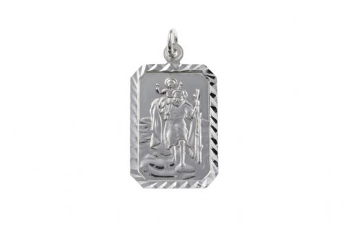 Sterling Silver Rectangular St. Christopher Including Chain